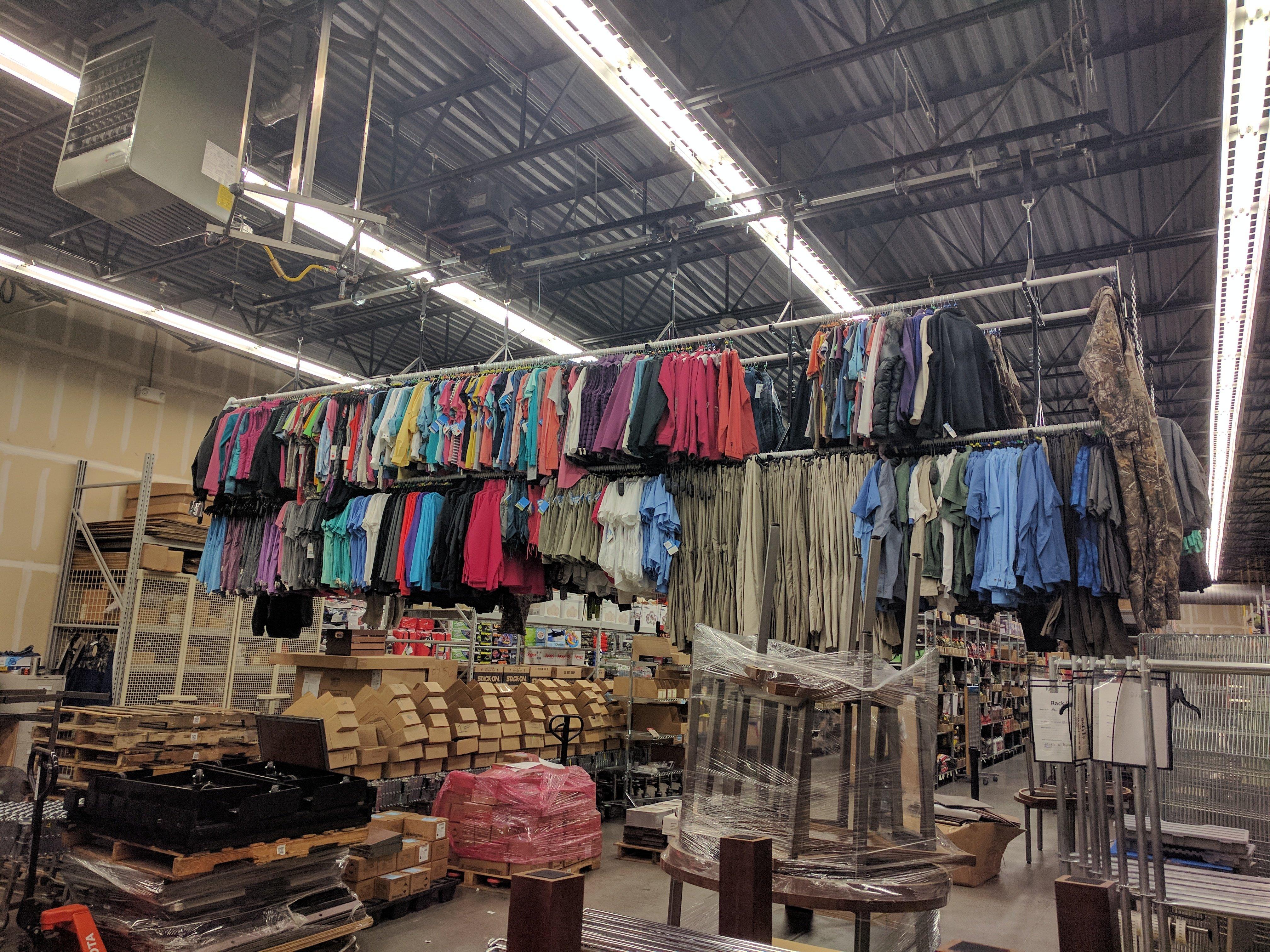 Garment Racks in Warehouse