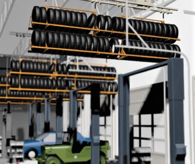 Overhead Lift-Over Under Tire Storage