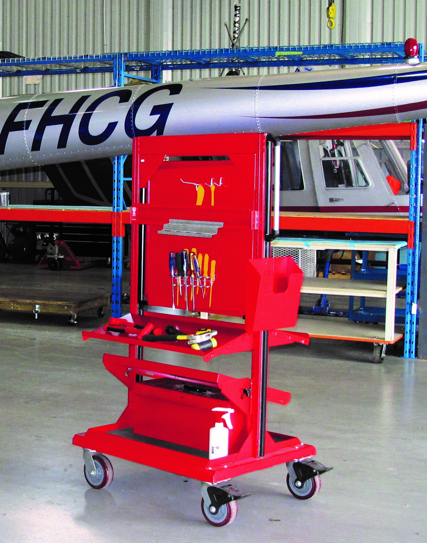 Freestanding Tool Cart in Hangar