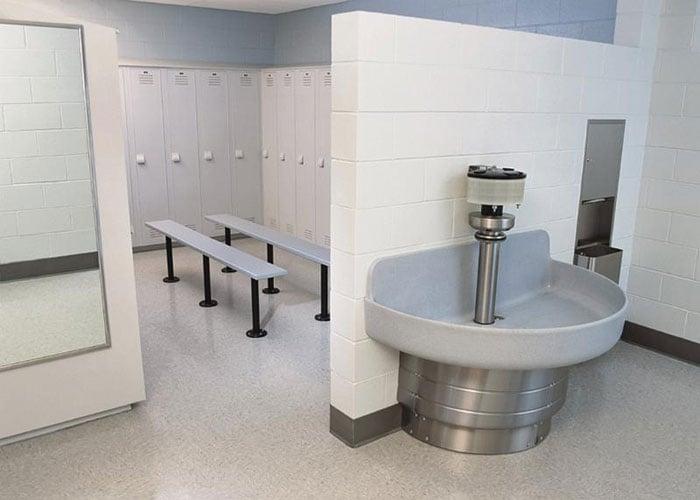 Industrial Facility Locker Room-wash fountain