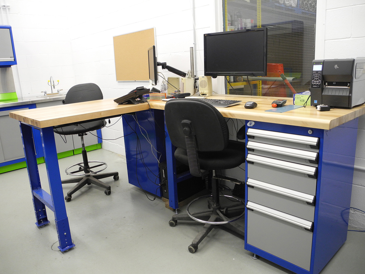 L-Shape workbench with cabinet