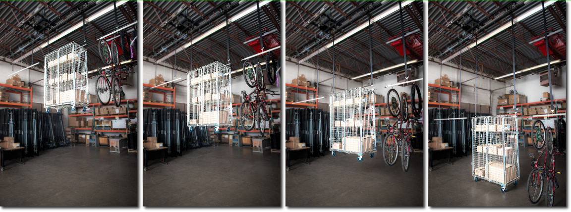 Overhead Shelving Cage and Bike Lift