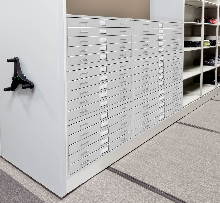Mobile Shelving with Flat Files