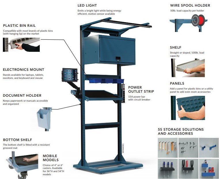Freestanding Tool Cart Accessories