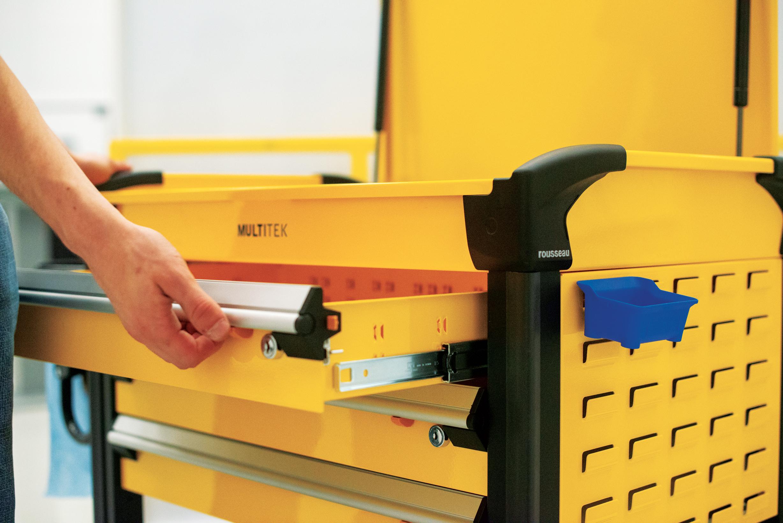 Multitek tool cart-drawer release mechanism