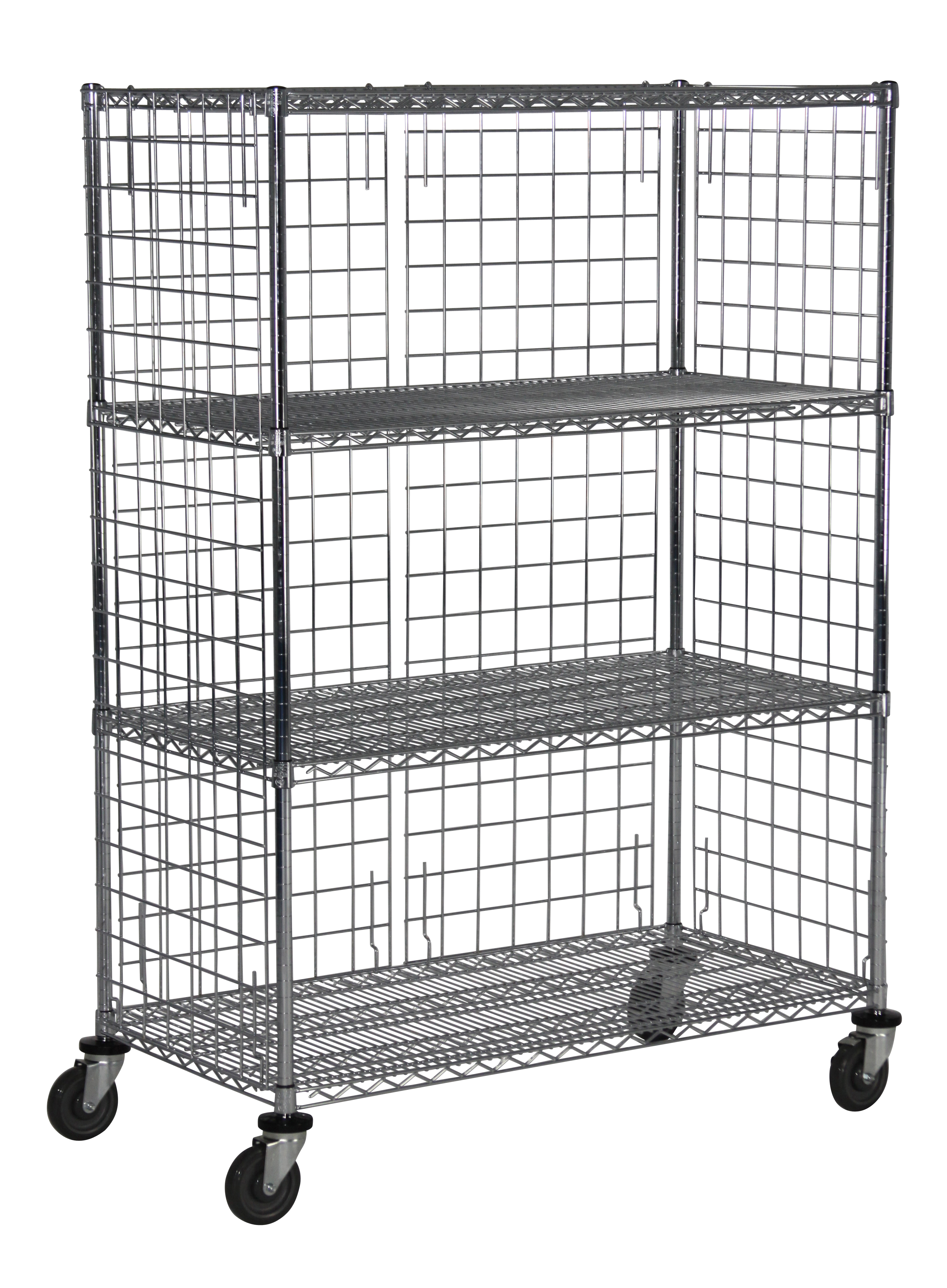 Wire Cart with Closed Shelving