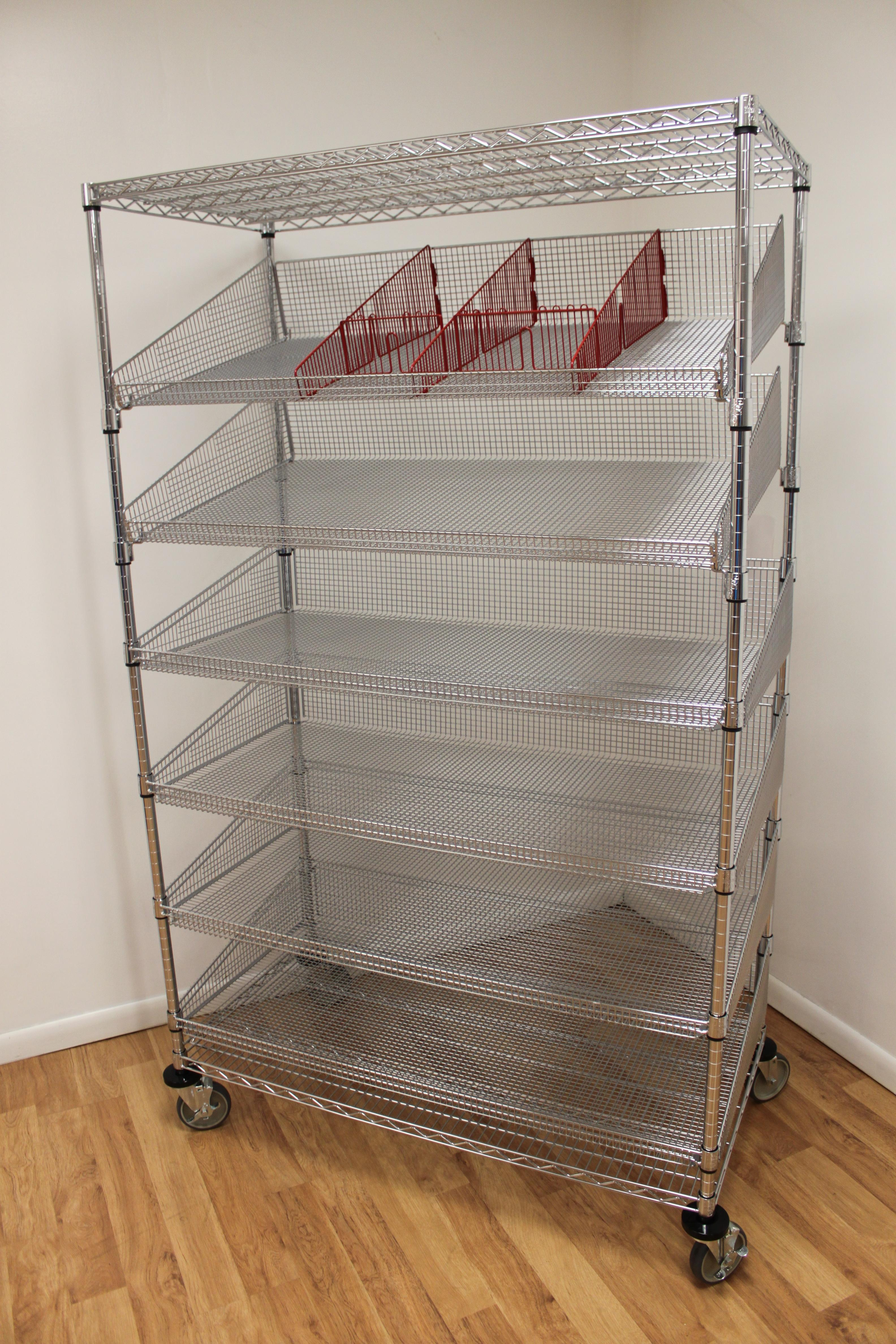 Wire cart-angle baskets w/dividers
