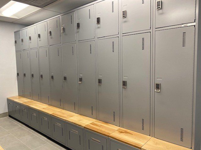 Metal Lockers with Cubby Bench Pullout
