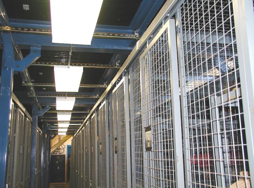 Welded Wire Lockers below mezzanine