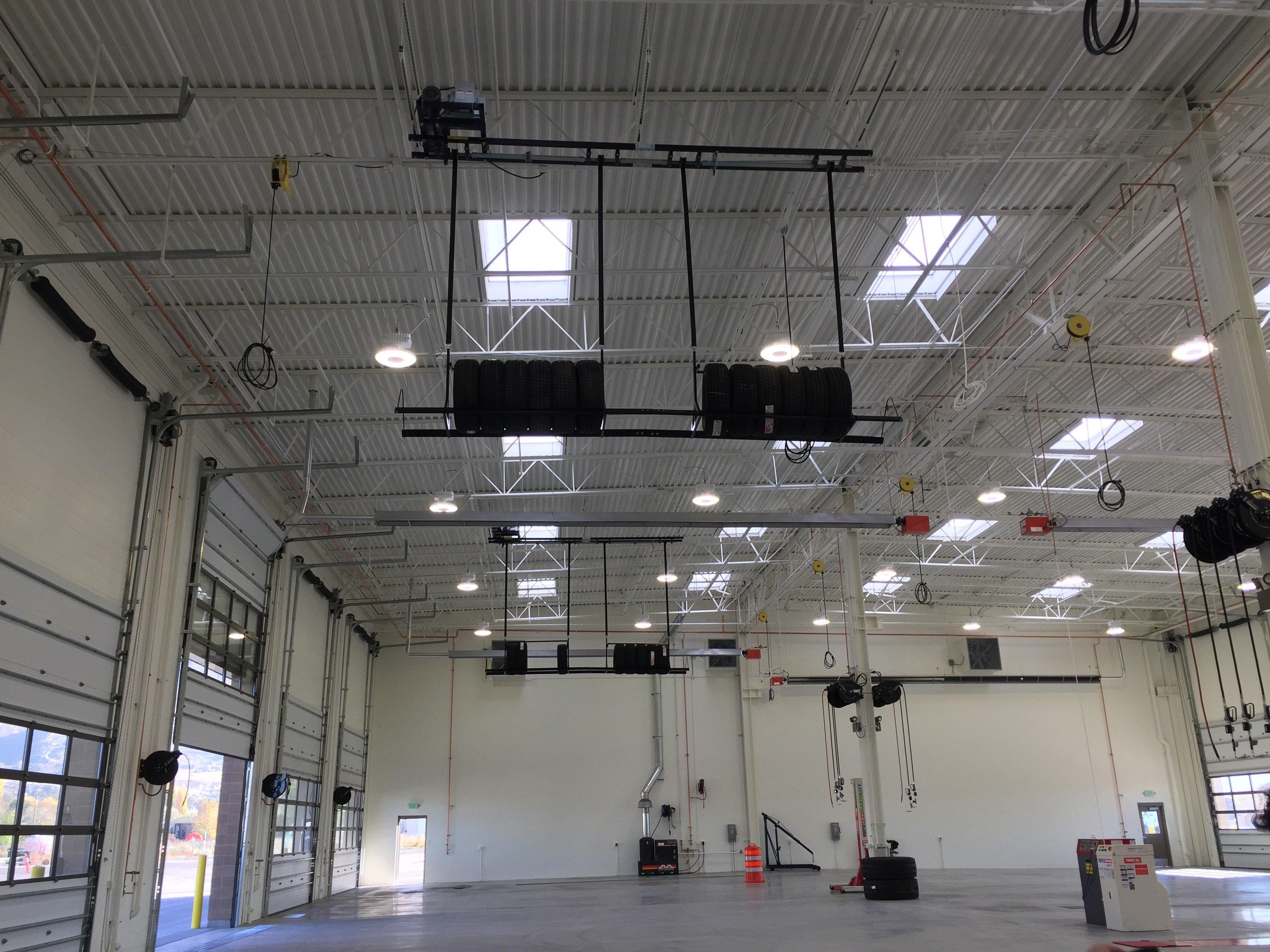 Overhead Tire Storage-service bays