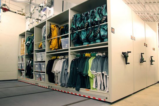 Mobile Shelving for Athletic Gear